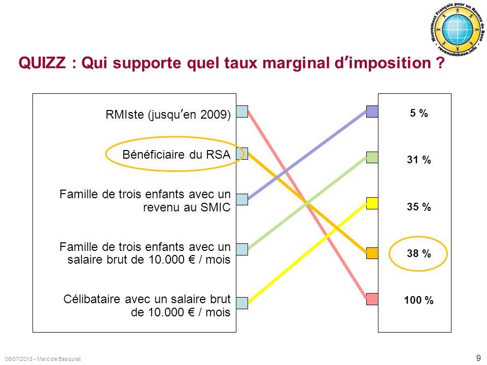 9 08/07/2013 - Marc de Basquiat QUIZZ : Qui supporte quel taux marginal dimposition ? RMIste (jusquen 2009) Bénéficiaire du RSA Famille de trois enfan