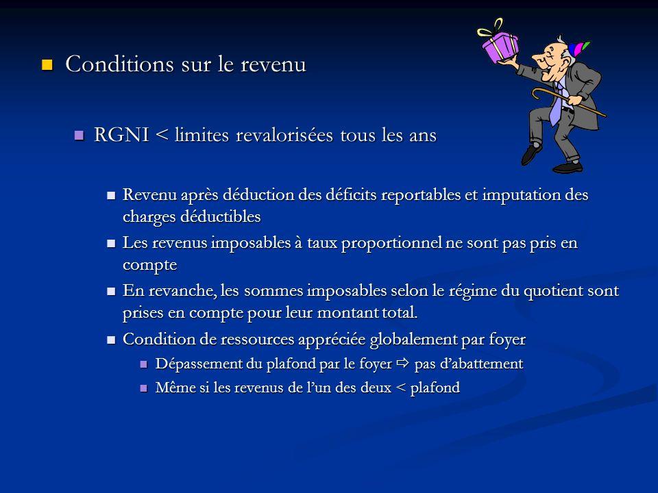 Conditions sur le revenu Conditions sur le revenu RGNI < limites revalorisées tous les ans RGNI < limites revalorisées tous les ans Revenu après déduc