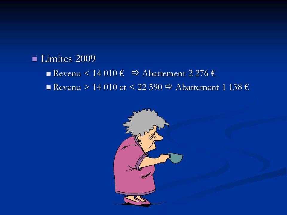 Limites 2009 Limites 2009 Revenu < 14 010 Abattement 2 276 Revenu < 14 010 Abattement 2 276 Revenu > 14 010 et 14 010 et < 22 590 Abattement 1 138