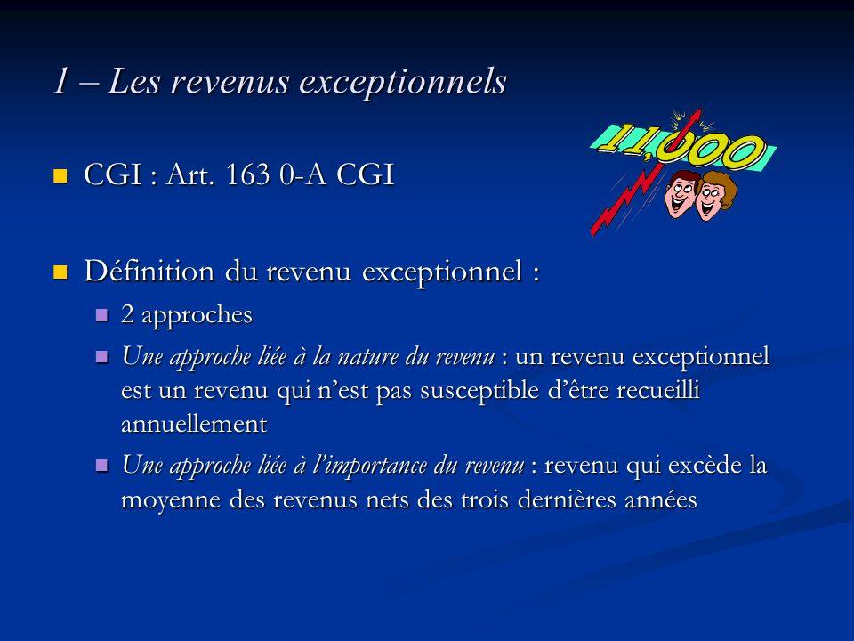 1 – Les revenus exceptionnels CGI : Art. 163 0-A CGI CGI : Art. 163 0-A CGI Définition du revenu exceptionnel : Définition du revenu exceptionnel : 2