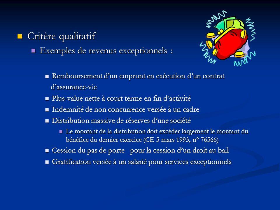 Critère qualitatif Critère qualitatif Exemples de revenus exceptionnels : Exemples de revenus exceptionnels : Remboursement dun emprunt en exécution d