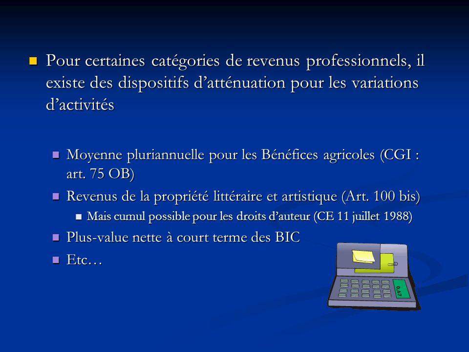 Pour certaines catégories de revenus professionnels, il existe des dispositifs datténuation pour les variations dactivités Pour certaines catégories d