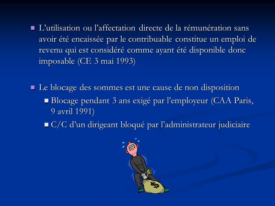 Lutilisation ou laffectation directe de la rémunération sans avoir été encaissée par le contribuable constitue un emploi de revenu qui est considéré c