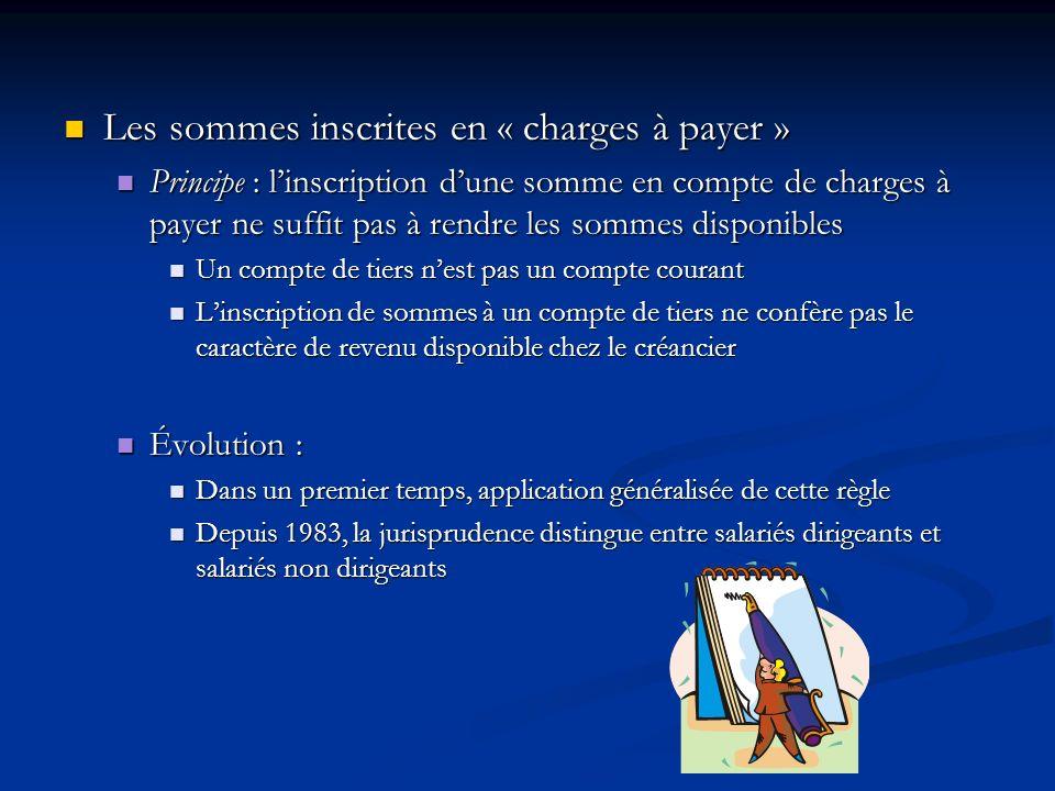 Les sommes inscrites en « charges à payer » Les sommes inscrites en « charges à payer » Principe : linscription dune somme en compte de charges à paye
