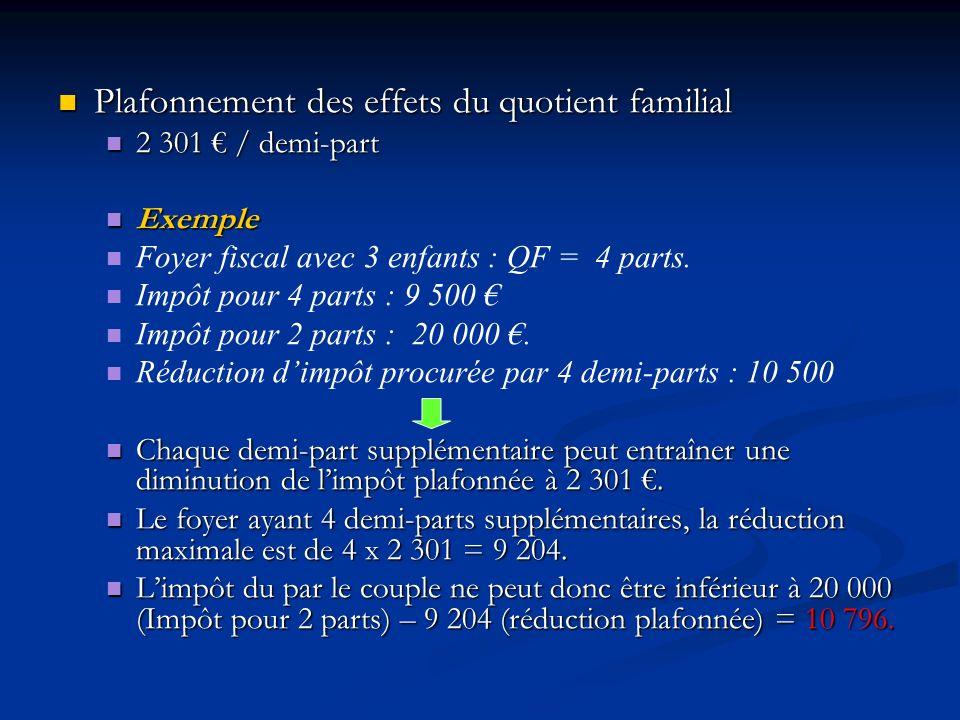 Plafonnement des effets du quotient familial Plafonnement des effets du quotient familial 2 301 / demi-part 2 301 / demi-part Exemple Exemple Foyer fi