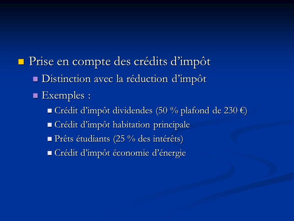 Prise en compte des crédits dimpôt Prise en compte des crédits dimpôt Distinction avec la réduction dimpôt Distinction avec la réduction dimpôt Exempl