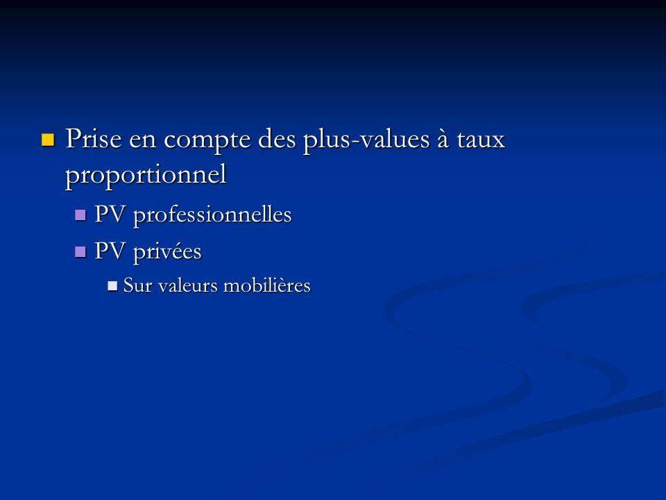 Prise en compte des plus-values à taux proportionnel Prise en compte des plus-values à taux proportionnel PV professionnelles PV professionnelles PV p