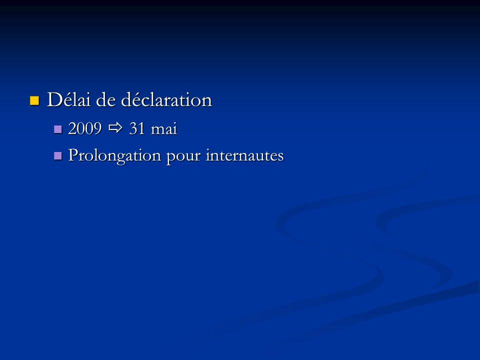 Délai de déclaration Délai de déclaration 2009 31 mai 2009 31 mai Prolongation pour internautes Prolongation pour internautes