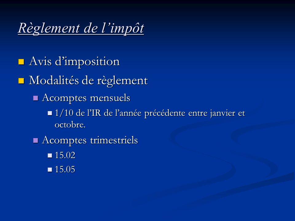 Règlement de limpôt Avis dimposition Avis dimposition Modalités de règlement Modalités de règlement Acomptes mensuels Acomptes mensuels 1/10 de lIR de