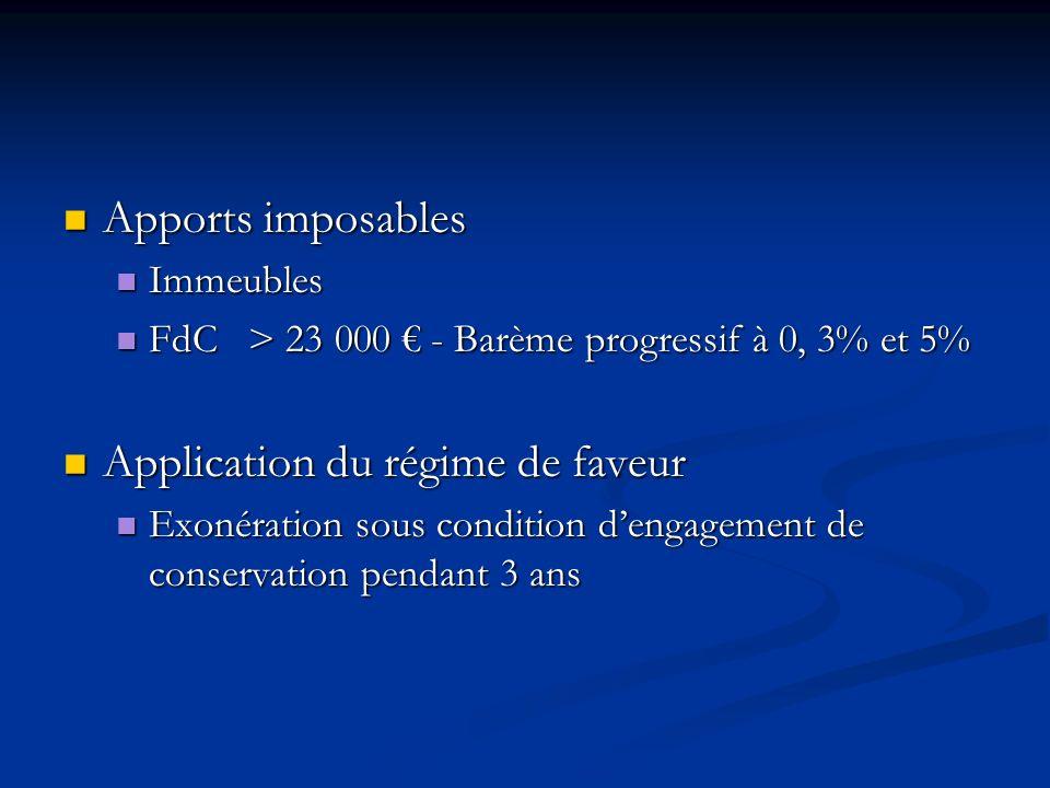 Apports imposables Apports imposables Immeubles Immeubles FdC > 23 000 - Barème progressif à 0, 3% et 5% FdC > 23 000 - Barème progressif à 0, 3% et 5