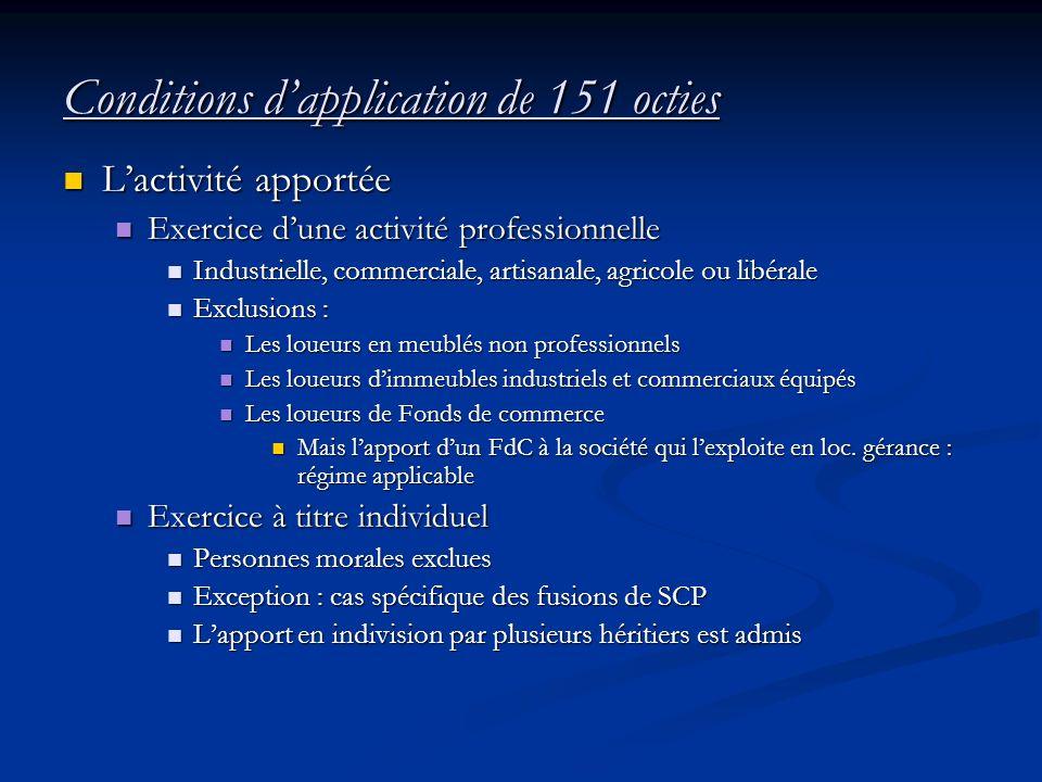 Conditions dapplication de 151 octies Lactivité apportée Lactivité apportée Exercice dune activité professionnelle Exercice dune activité professionne