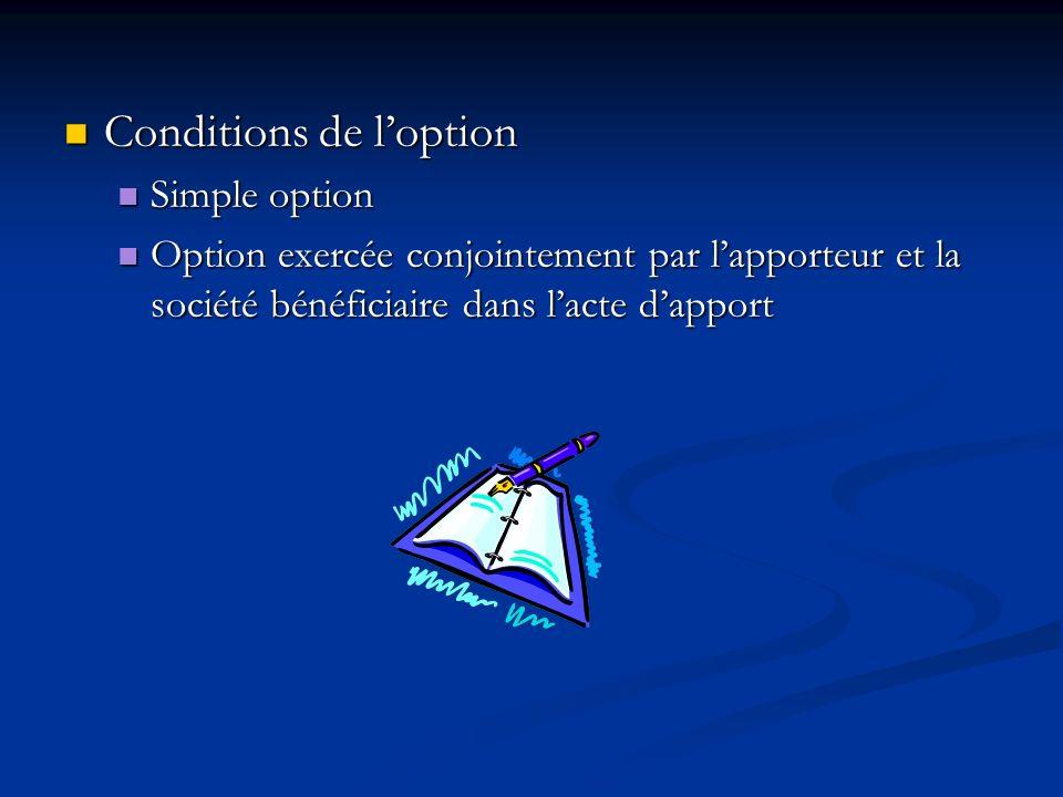 Conditions de loption Conditions de loption Simple option Simple option Option exercée conjointement par lapporteur et la société bénéficiaire dans la