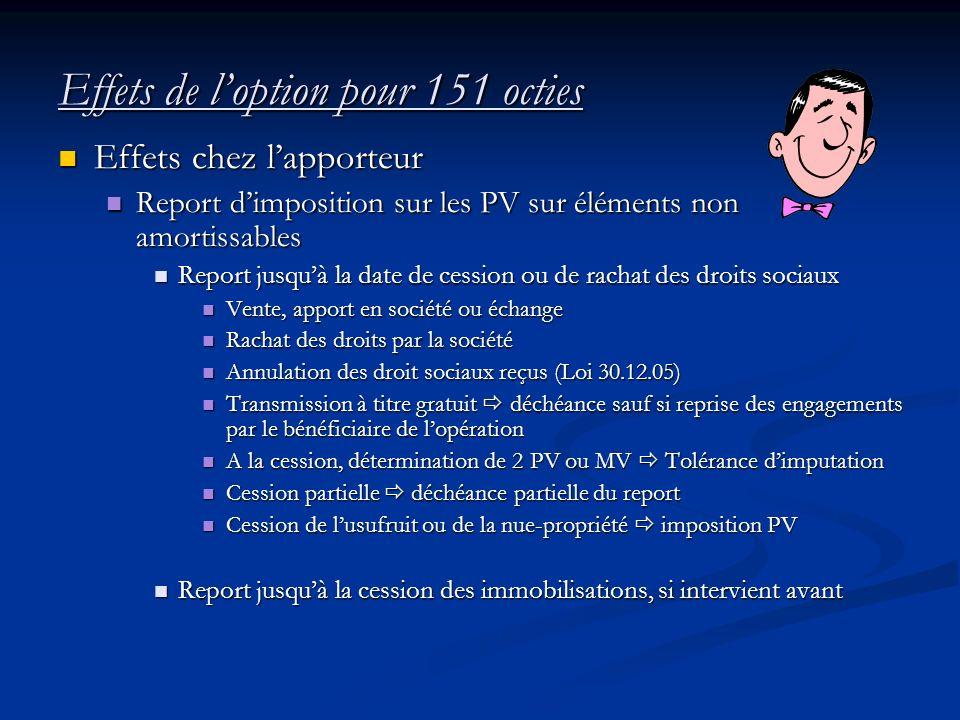 Effets de loption pour 151 octies Effets chez lapporteur Effets chez lapporteur Report dimposition sur les PV sur éléments non amortissables Report di