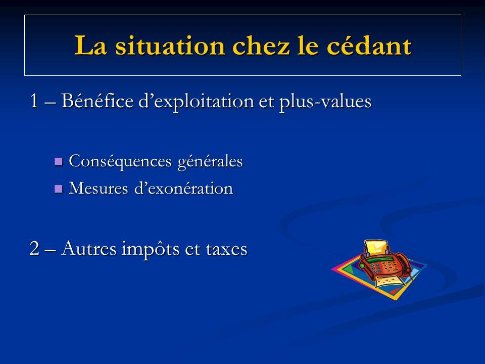 La situation chez le cédant 1 – Bénéfice dexploitation et plus-values Conséquences générales Conséquences générales Mesures dexonération Mesures dexon