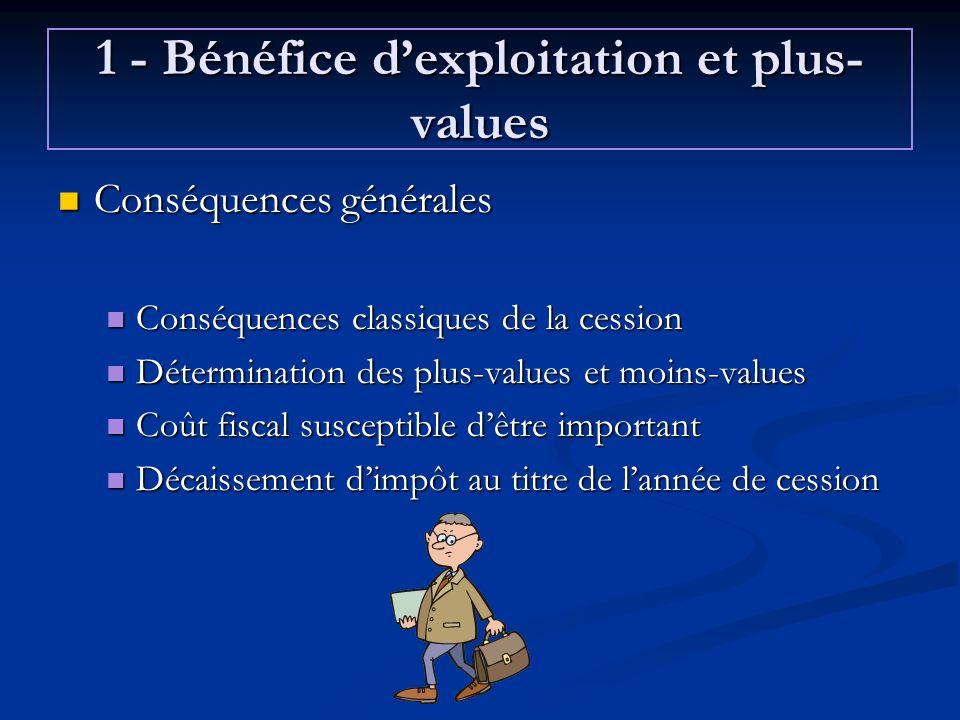 1 - Bénéfice dexploitation et plus- values Conséquences générales Conséquences générales Conséquences classiques de la cession Conséquences classiques