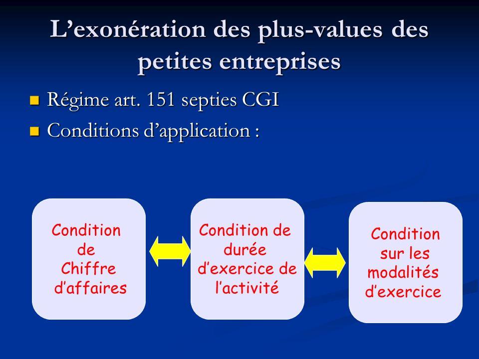 Lexonération des plus-values des petites entreprises Régime art. 151 septies CGI Régime art. 151 septies CGI Conditions dapplication : Conditions dapp