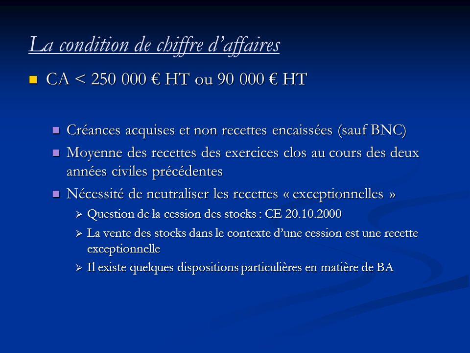 La condition de chiffre daffaires CA < 250 000 HT ou 90 000 HT CA < 250 000 HT ou 90 000 HT Créances acquises et non recettes encaissées (sauf BNC) Cr