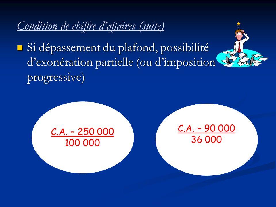 Condition de chiffre daffaires (suite) Si dépassement du plafond, possibilité dexonération partielle (ou dimposition progressive) Si dépassement du pl