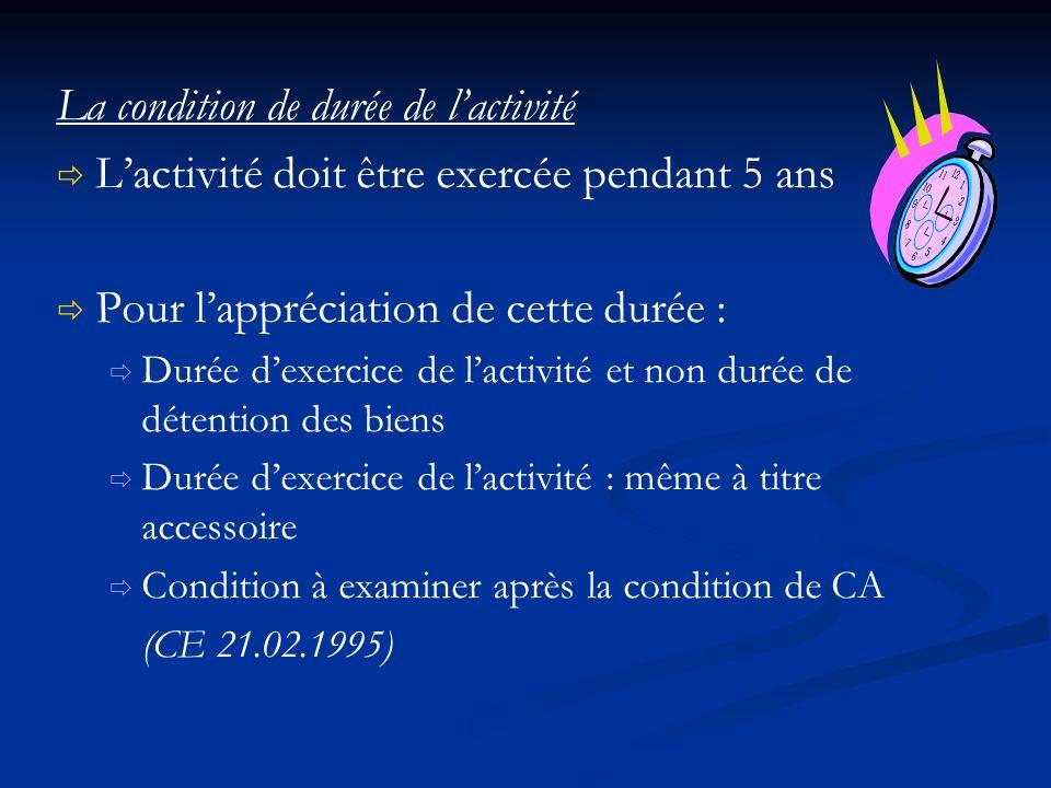 La condition de durée de lactivité Lactivité doit être exercée pendant 5 ans Pour lappréciation de cette durée : Durée dexercice de lactivité et non d