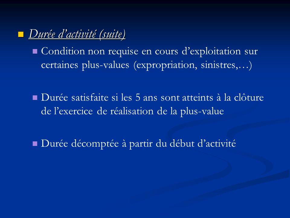 Durée dactivité (suite) Durée dactivité (suite) Condition non requise en cours dexploitation sur certaines plus-values (expropriation, sinistres,…) Du