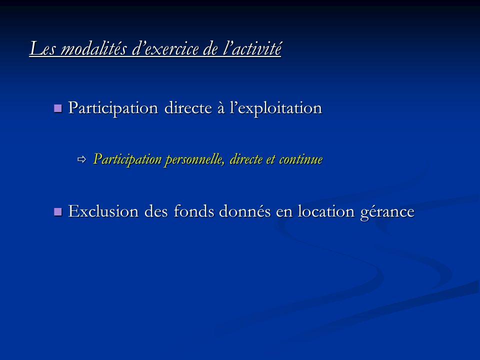 Les modalités dexercice de lactivité Participation directe à lexploitation Participation directe à lexploitation Participation personnelle, directe et