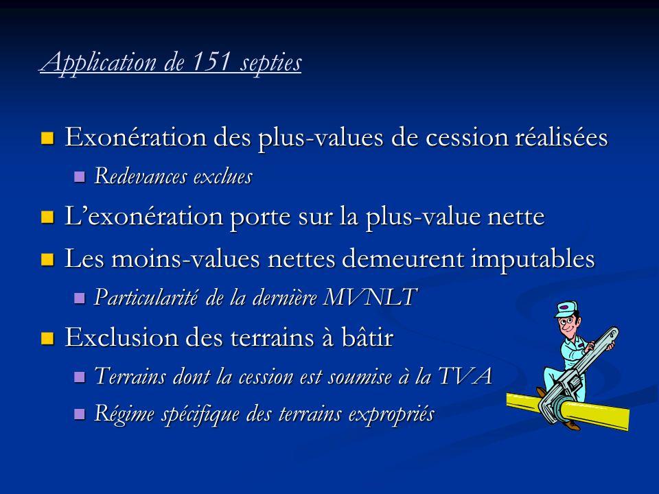 Application de 151 septies Exonération des plus-values de cession réalisées Exonération des plus-values de cession réalisées Redevances exclues Redeva