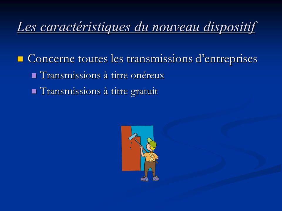 Les caractéristiques du nouveau dispositif Concerne toutes les transmissions dentreprises Concerne toutes les transmissions dentreprises Transmissions