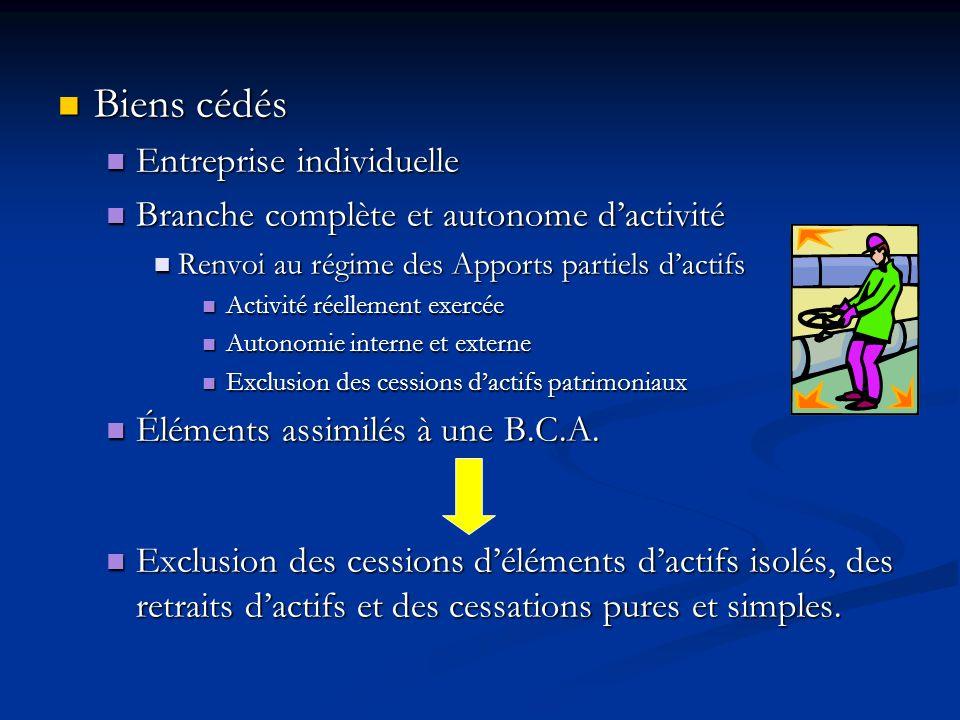 Biens cédés Biens cédés Entreprise individuelle Entreprise individuelle Branche complète et autonome dactivité Branche complète et autonome dactivité