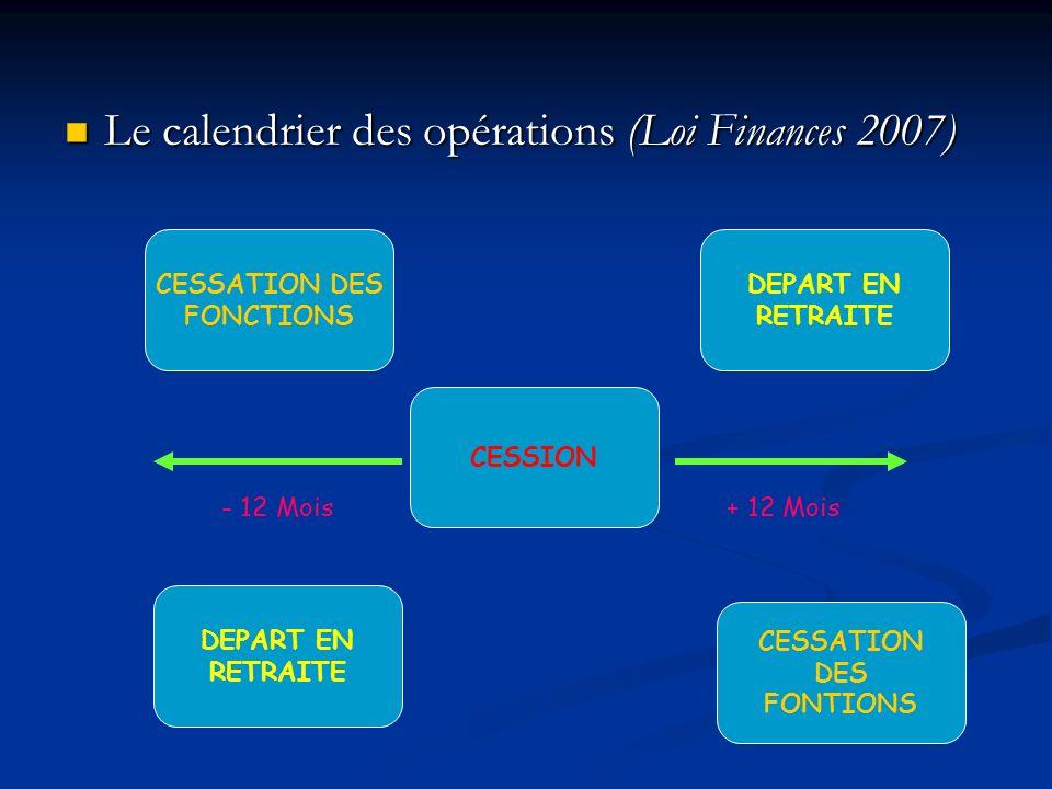 Le calendrier des opérations (Loi Finances 2007) Le calendrier des opérations (Loi Finances 2007) CESSION CESSATION DES FONCTIONS DEPART EN RETRAITE D