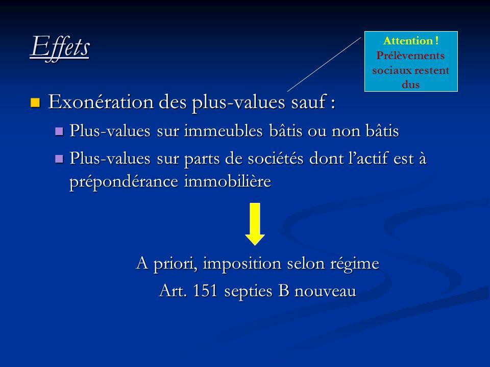 Effets Exonération des plus-values sauf : Exonération des plus-values sauf : Plus-values sur immeubles bâtis ou non bâtis Plus-values sur immeubles bâ