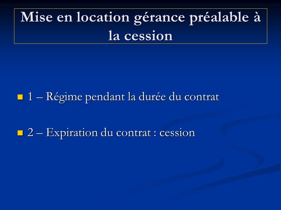 Mise en location gérance préalable à la cession 1 – Régime pendant la durée du contrat 1 – Régime pendant la durée du contrat 2 – Expiration du contra