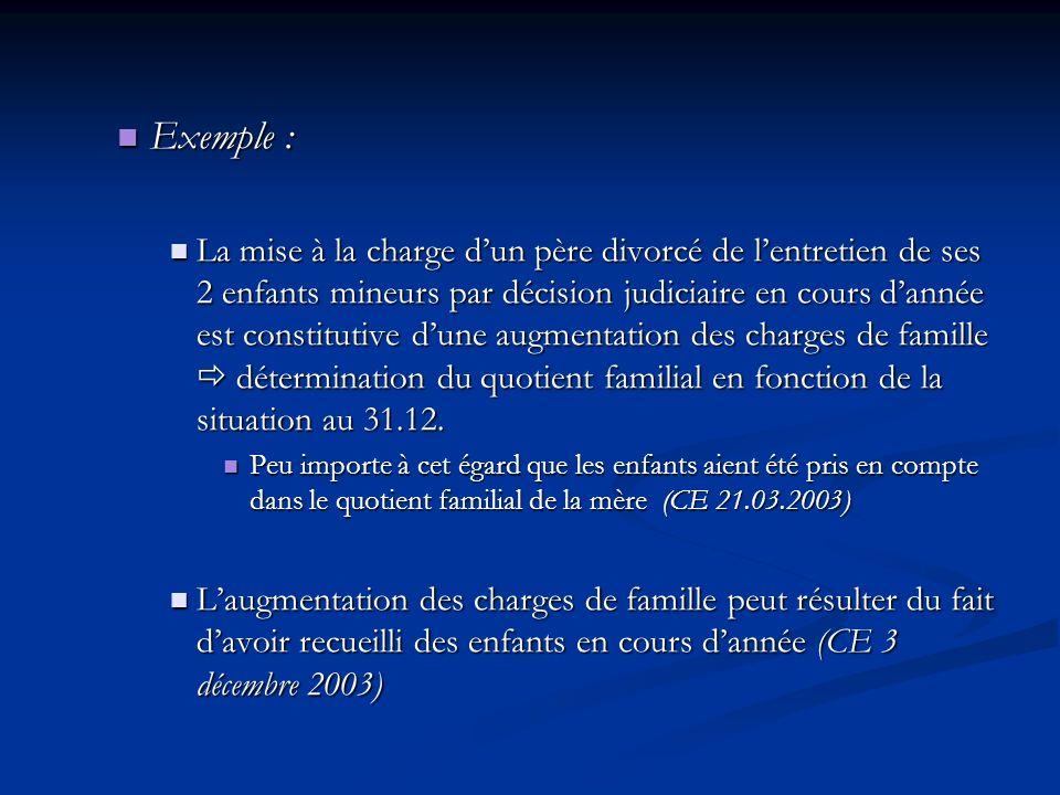 Exemple : Exemple : La mise à la charge dun père divorcé de lentretien de ses 2 enfants mineurs par décision judiciaire en cours dannée est constituti