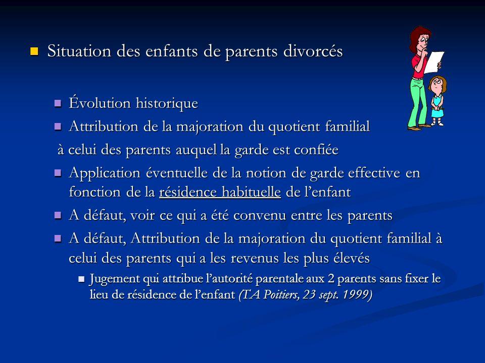 Situation des enfants de parents divorcés Situation des enfants de parents divorcés Évolution historique Évolution historique Attribution de la majora