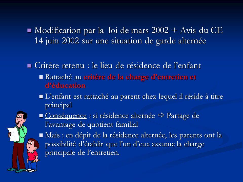 Modification par la loi de mars 2002 + Avis du CE 14 juin 2002 sur une situation de garde alternée Modification par la loi de mars 2002 + Avis du CE 1