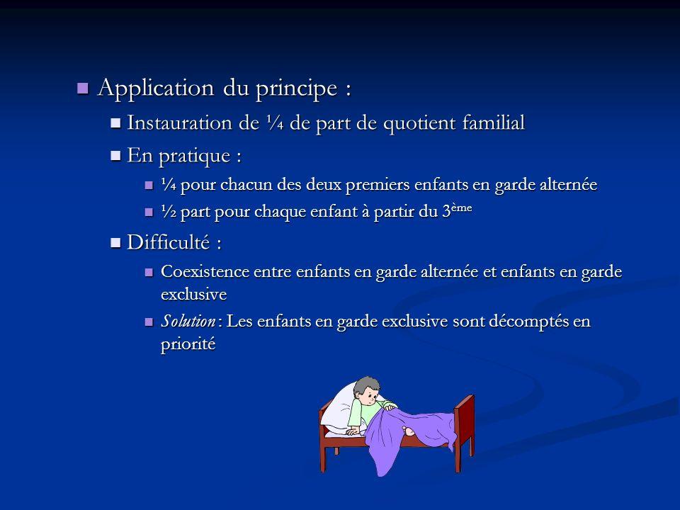 Application du principe : Application du principe : Instauration de ¼ de part de quotient familial Instauration de ¼ de part de quotient familial En p