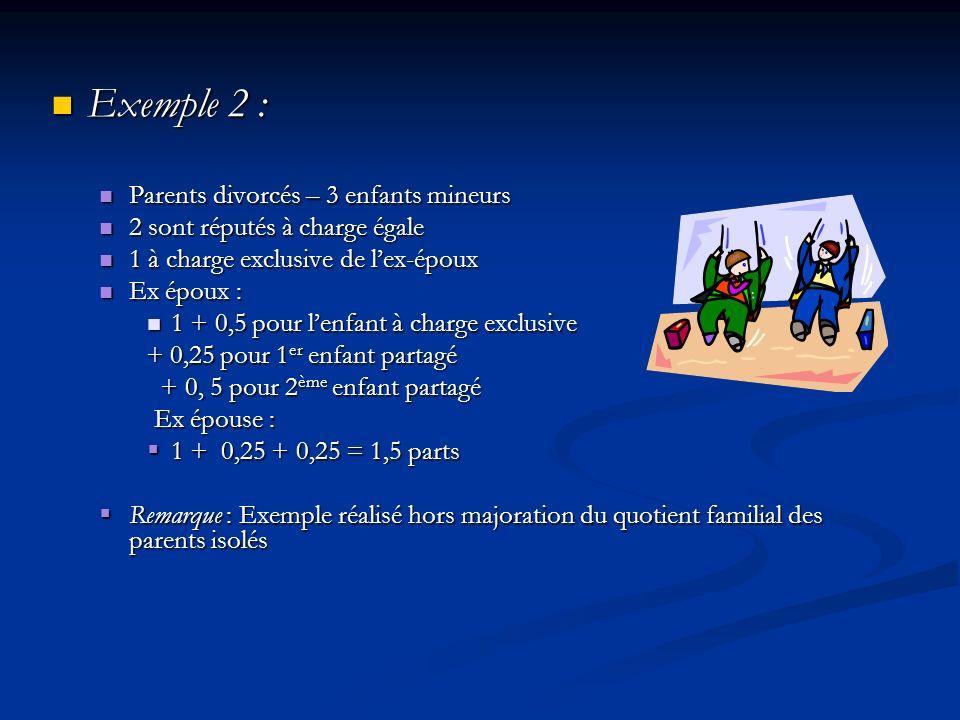 Exemple 2 : Exemple 2 : Parents divorcés – 3 enfants mineurs Parents divorcés – 3 enfants mineurs 2 sont réputés à charge égale 2 sont réputés à charg