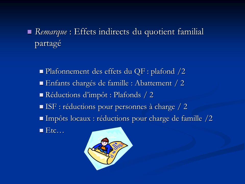 Remarque : Effets indirects du quotient familial partagé Remarque : Effets indirects du quotient familial partagé Plafonnement des effets du QF : plaf
