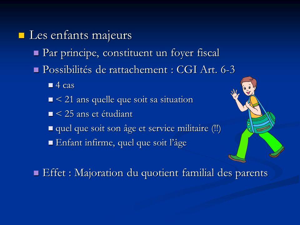 Les enfants majeurs Les enfants majeurs Par principe, constituent un foyer fiscal Par principe, constituent un foyer fiscal Possibilités de rattacheme