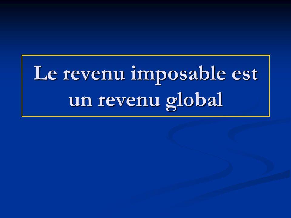 Le revenu imposable est un revenu global