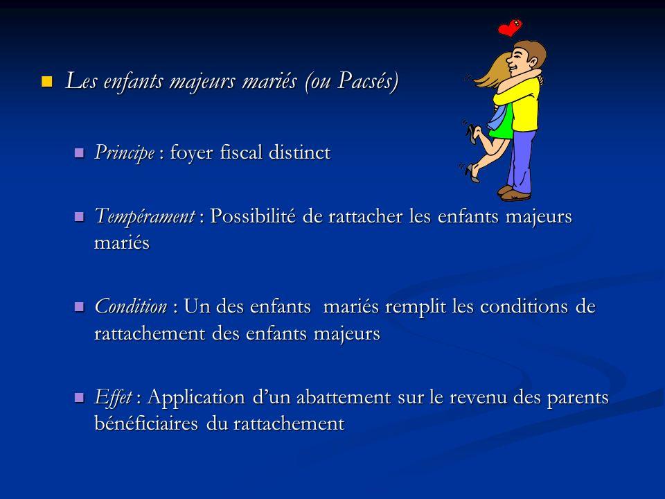 Les enfants majeurs mariés (ou Pacsés) Les enfants majeurs mariés (ou Pacsés) Principe : foyer fiscal distinct Principe : foyer fiscal distinct Tempér