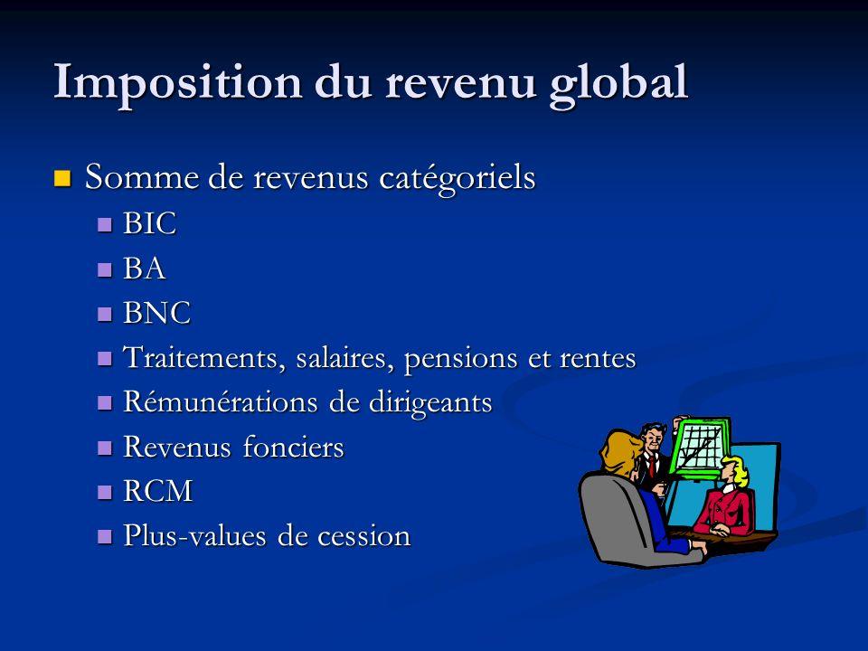 Imposition du revenu global Somme de revenus catégoriels Somme de revenus catégoriels BIC BIC BA BA BNC BNC Traitements, salaires, pensions et rentes