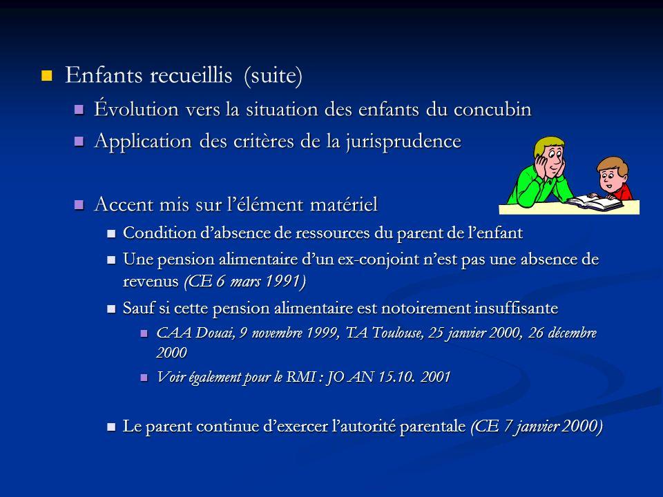 Enfants recueillis (suite) Évolution vers la situation des enfants du concubin Évolution vers la situation des enfants du concubin Application des cri