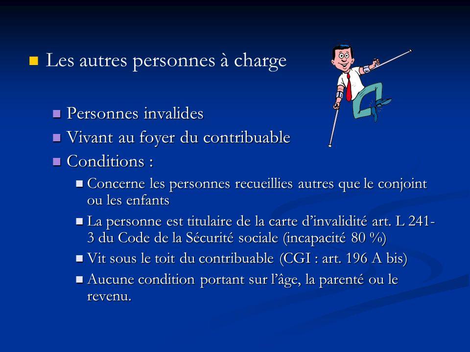 Les autres personnes à charge Personnes invalides Personnes invalides Vivant au foyer du contribuable Vivant au foyer du contribuable Conditions : Con