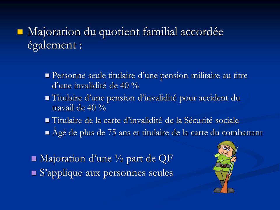Majoration du quotient familial accordée également : Majoration du quotient familial accordée également : Personne seule titulaire dune pension milita