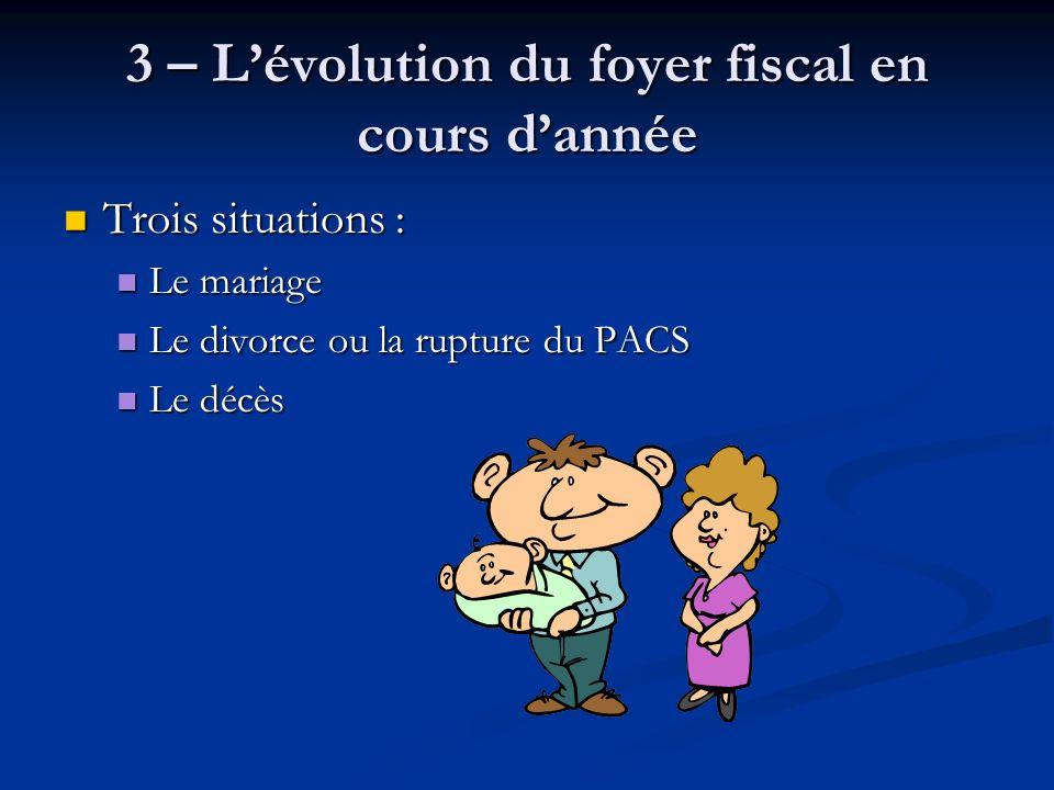 3 – Lévolution du foyer fiscal en cours dannée Trois situations : Trois situations : Le mariage Le mariage Le divorce ou la rupture du PACS Le divorce