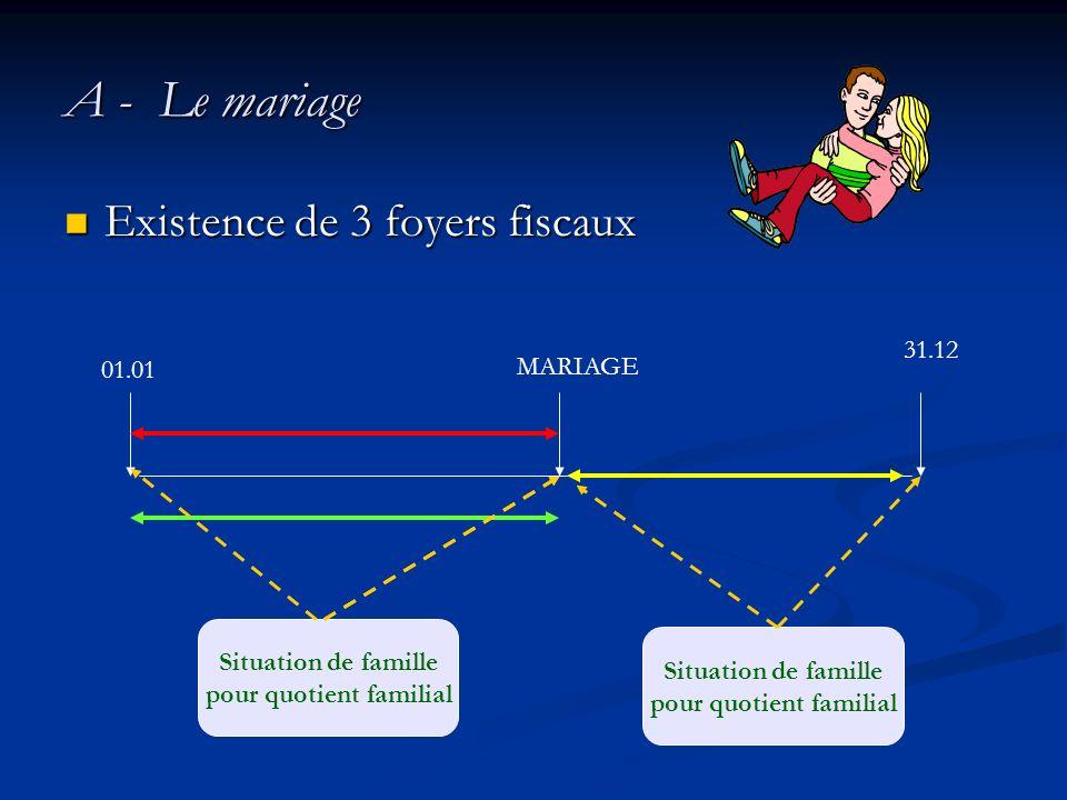 A - Le mariage Existence de 3 foyers fiscaux Existence de 3 foyers fiscaux 01.01 31.12 MARIAGE Situation de famille pour quotient familial Situation d