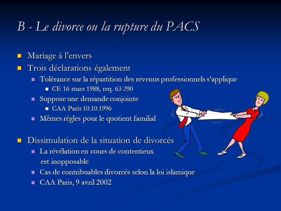 B - Le divorce ou la rupture du PACS Mariage à lenvers Mariage à lenvers Trois déclarations également Trois déclarations également Tolérance sur la ré