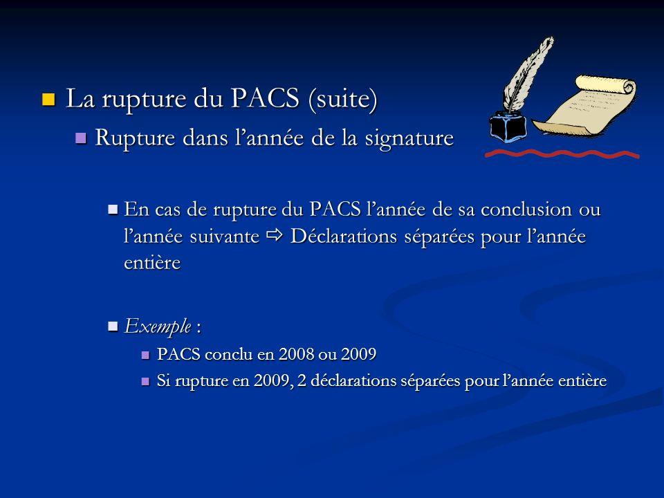 La rupture du PACS (suite) La rupture du PACS (suite) Rupture dans lannée de la signature Rupture dans lannée de la signature En cas de rupture du PAC