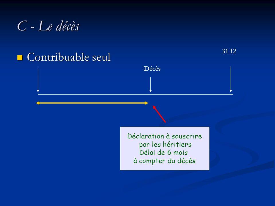 C - Le décès Contribuable seul Contribuable seul Décès Déclaration à souscrire par les héritiers Délai de 6 mois à compter du décès 31.12