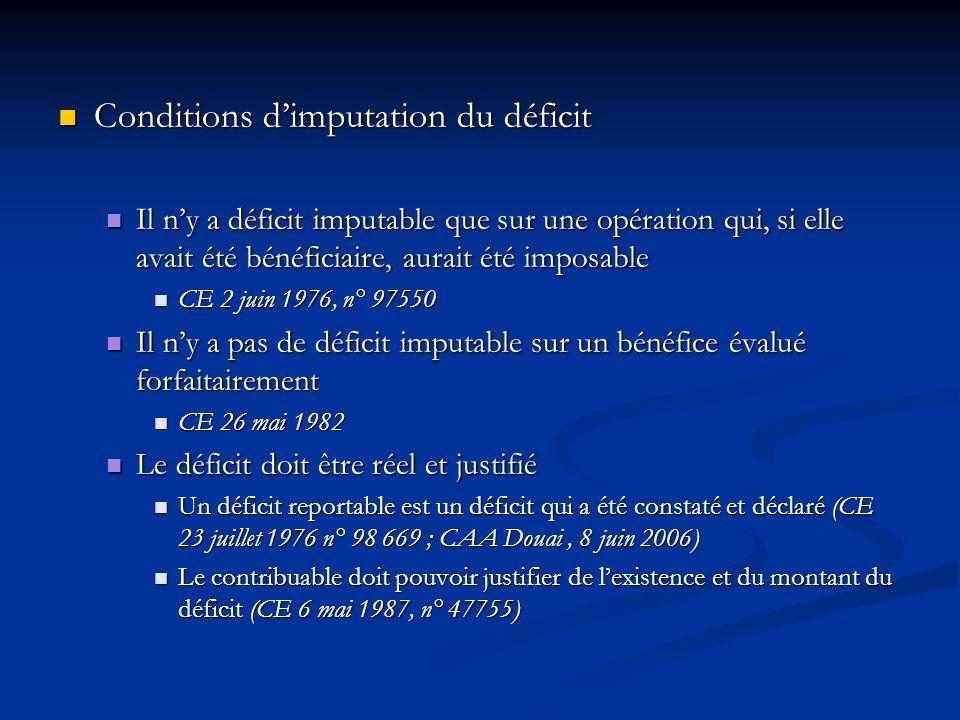 Conditions dimputation du déficit Conditions dimputation du déficit Il ny a déficit imputable que sur une opération qui, si elle avait été bénéficiair